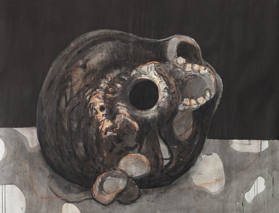 © Jörg langhans-Vanitas - 1998 - ink and pastel on paper - 128x139cm © Jörg langhans