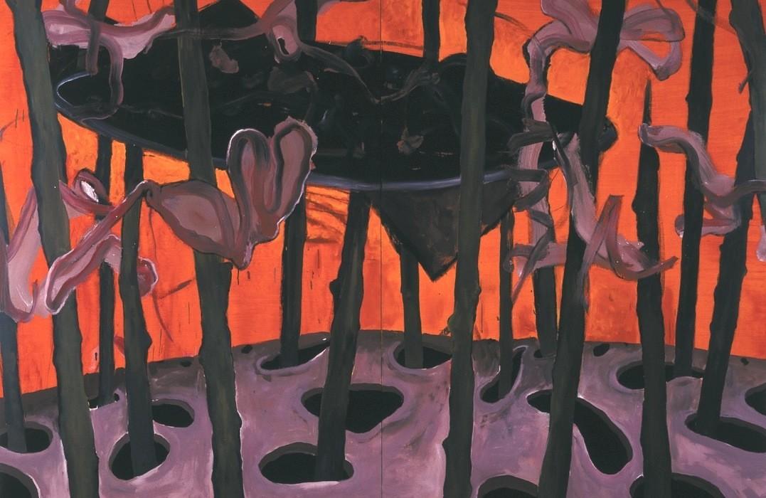 Jörg Langhans, La guerre, technique mixte sur toile, diptyque, 195x260 cm © Jörg langhans