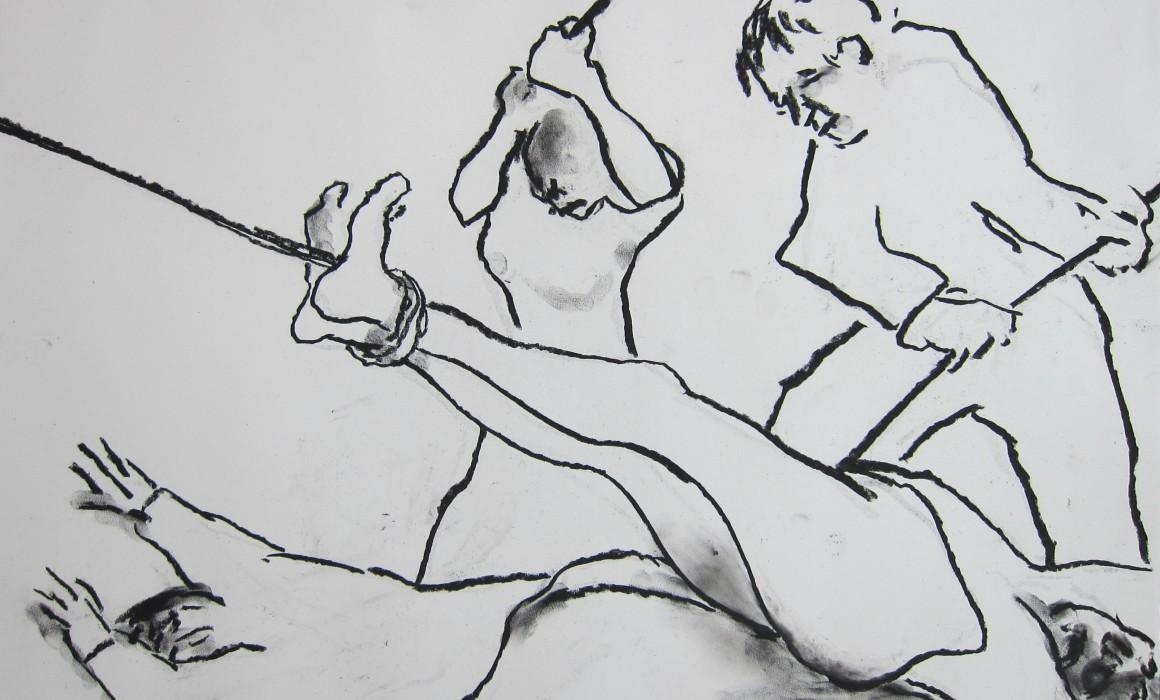 Jörg Langhans, %22les désastres de la guerre%22, d'après Goya, 2016, pastel on paper, 50x65cm