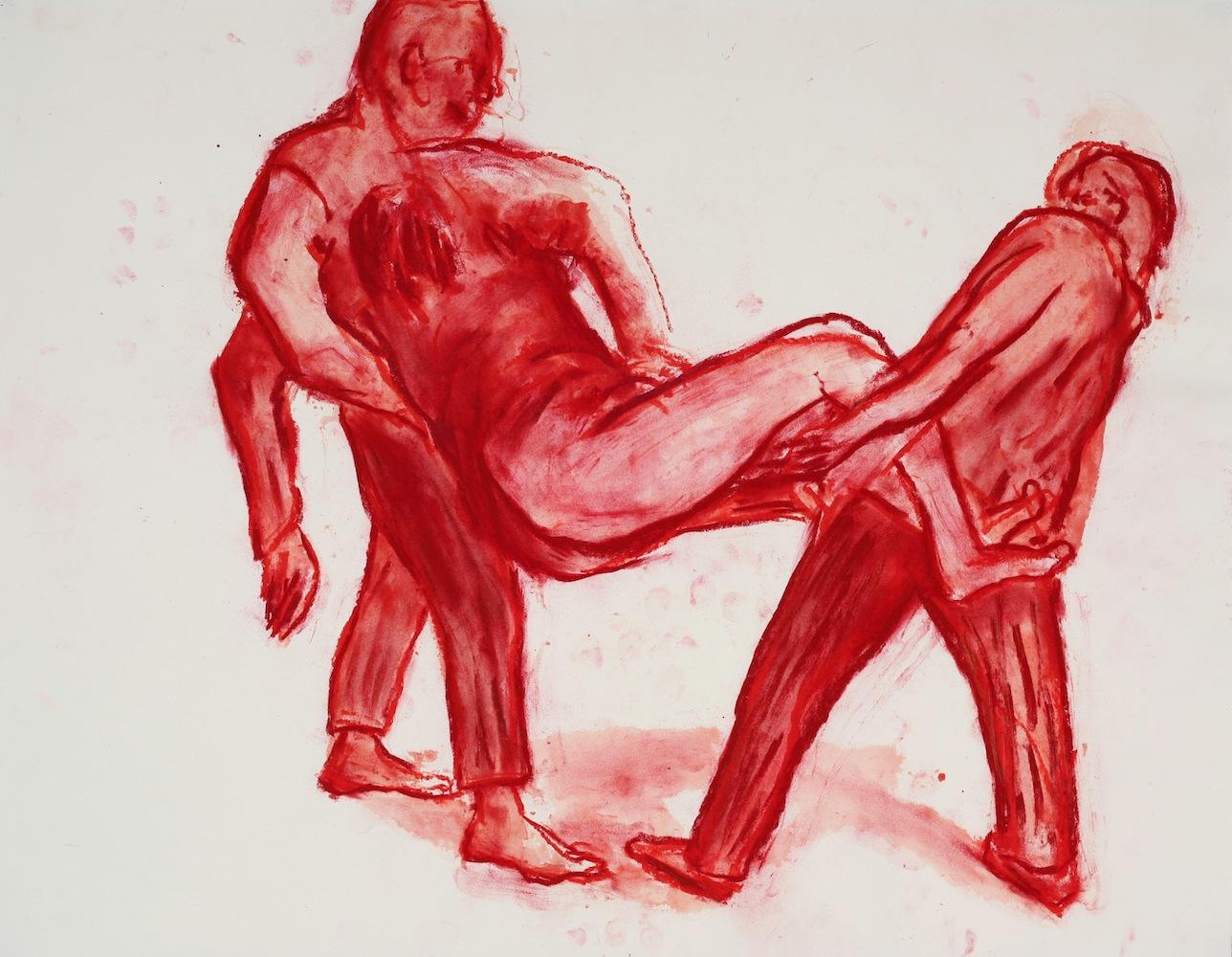 de la série LES DESASTRES DE LA GUERRE (d'après Goya) 2015/16 - mixed media on paper - 50 x 65cm @JörgLanghans