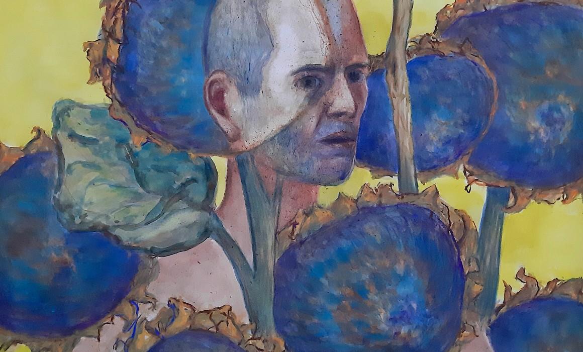 L'homme - tournesol 2019 aquarelle, gouache et pastel sur papier 105 x 75 cm